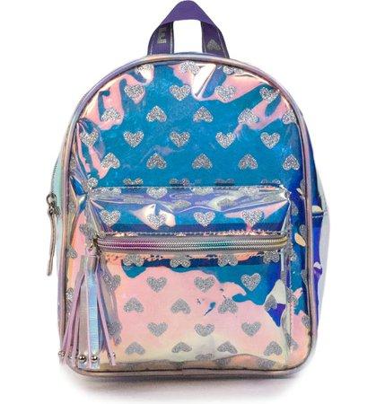 OMG Glitter Heart Iridescent Mini Backpack (Kids) | Nordstrom
