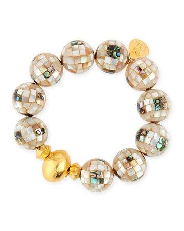 Devon Leigh 18k White Pearlescent Bead Bracelet