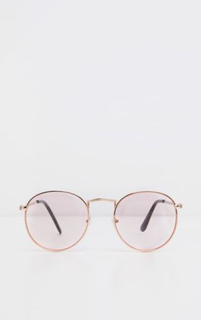 Pink Rounded Lens Retro Sunglasses | PrettyLittleThing