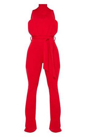 Red Scuba High Neck Tie Waist Jumpsuit | PrettyLittleThing