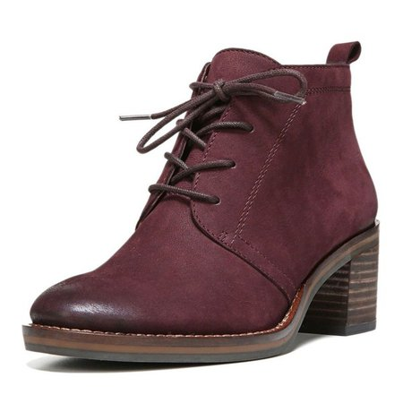 Maroon Short Boots Round Toe Lace up Block Heel Vintage Ankle Boots for Work, School, Date, Going out   FSJ
