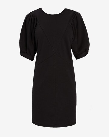 Seamed Puff Shoulder Sweatshirt Dress