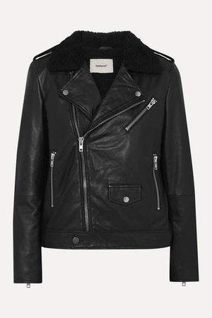 Deadwood - Net Sustain River Teddy Faux Shearling-trimmed Leather Biker Jacket - Black