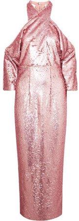 Safiyaa - Sequined Crepe Halterneck Midi Dress - Pink
