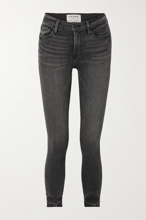 Le High Cropped Skinny Jeans - Dark gray