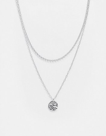 Topshop multirow necklace with coin pendant in silver | ASOS