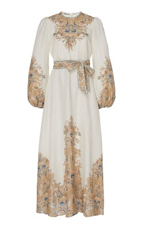 Freja Belted Paisley-Print Linen Maxi Dress by Zimmermann   Moda Operandi