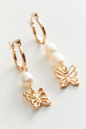 Pearl Butterfly Charm Hoop Earring | Urban Outfitters