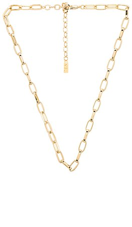 Natalie B Jewelry Shelby Large Rectangular Link Necklace in Gold   REVOLVE