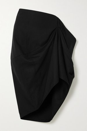 Draped Twill Skirt - Black