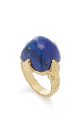 Icon Geo 18K Yellow Gold Lapis Dome Ring by Rush Jewelry Design | Moda Operandi