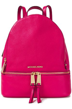 Bright pink Logo-embellished textured-leather backpack | Sale up to 70% off | THE OUTNET | MICHAEL MICHAEL KORS | THE OUTNET