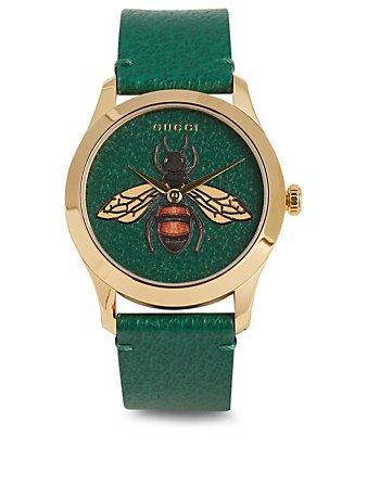 GUCCI Montre G-Timeless avec bracelet en cuir | Holt Renfrew