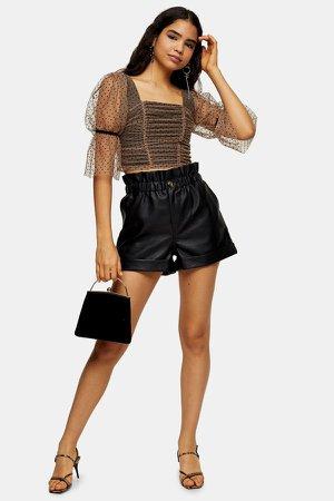 Black PU Paperbag Shorts