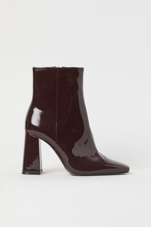 Patent Ankle Boots - Red