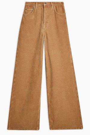 Teddy Corduroy Slim Wide Jeans | Topshop brown