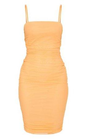 Tangerine Strappy Mesh Midi Dress | Dresses | PrettyLittleThing