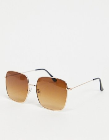 South Beach square sunglasses with gold frames and brown lens   ASOS