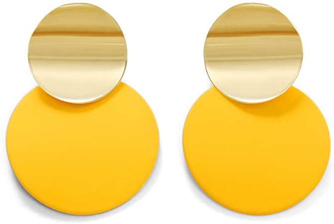 LILIE&WHITE Yellow Round Curved Discs Drop Earrings with Matte Paint for Girl Jewelry, Hypoallergenic Post