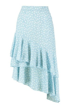 Ruffle Hem Floral Midi Skirt | Boohoo