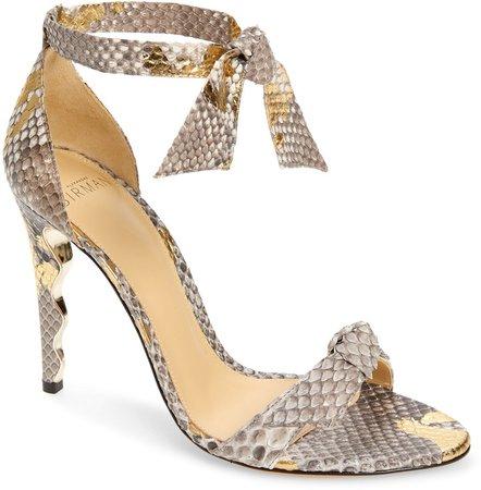 Clarita Embossed Ankle Tie Sandal