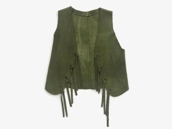 Vintage 60s Leather VEST / 1960s Green Suede Fringed Hippie   Etsy