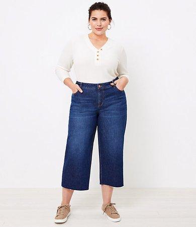 Plus Wide Leg Jeans in Dark Indigo Wash