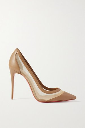 Galativi 100 Leather And Mesh Pumps - Taupe