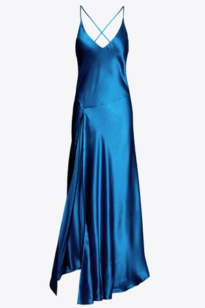 Elvira Silk Bias Slip Dress in Sapphire – Stellaire Collection