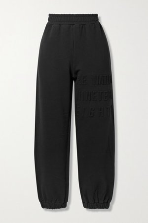 Power Play Embossed Stretch Organic Cotton-jersey Track Pants - Black
