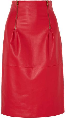 Zip-detailed Leather Skirt - Red