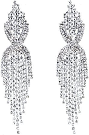 CHRAN Silver Rhinestone Long Tassels Dangle Chandelier Earrings