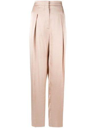 Brown Rochas wide leg trousers - Farfetch