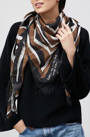 Zebra Print Cotton & Silk Scarf