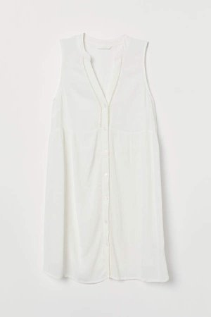 MAMA Button-front Tunic - White