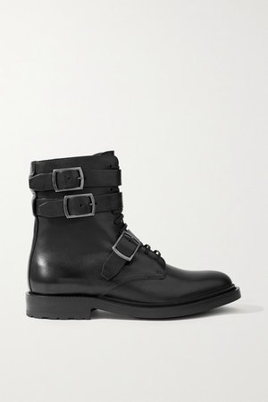 Army Buckled Leather Ankle Boots - Black