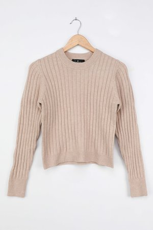 Beige Sweater - Ribbed Kit Sweater - Beige Ribbed Sweater
