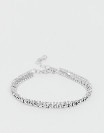 ASOS DESIGN bracelet in crystal ball chain in silver tone | ASOS