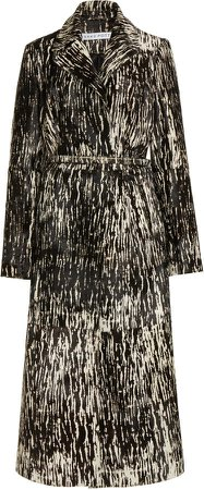 Saks Potts Metal Belted Printed Leather Coat