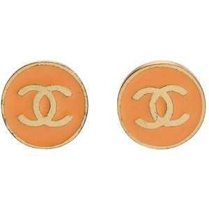 Chanel Orange Logo Earrings