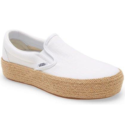Vans Linen Slip-On Platform Espadrille SF Sneaker (Women) | Nordstrom