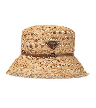 Prada - Raffia bucket hat | Mytheresa