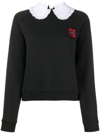 Miu Miu Cropped Embroidered Logo Sweatshirt - Farfetch