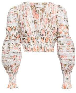 Cropped Smocked Floral-print Linen And Silk-blend Blouse