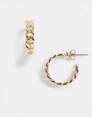 Pieces chain hoop earrings in gold | ASOS