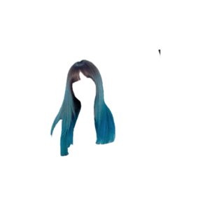 Black Hair and Blue Tips PNG