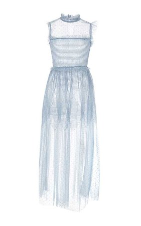 RED VALENTINO Sheer Tulle Embroidered Midi Dress