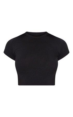 Basic Black Short Sleeve Crop Tshirt | Tops | PrettyLittleThing