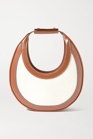 Moon Leather-trimmed Canvas Tote - Beige