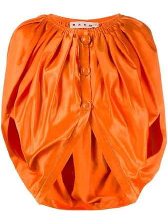 Marni Cropped Buttoned Voluminous Blouse TTMA0119Y1TCY63 Orange | Farfetch